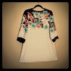 Polka dot and floral Zara shift dress
